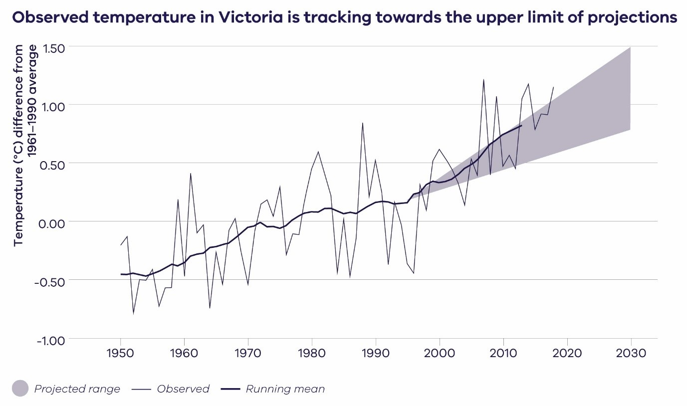 Comparison of the observed average annual temperatures for Victoria with the projected range of change. Shown are observed temperature difference from 1961-1990 average (thin black line) plus the 10-year running average (thicker line), and the projected temperature change to 2030 across climate models and emissions scenarios (relative to a 1986–2005 baseline period). For more details on the method, see Grose et al. (2017b) (CSIRO, 2019).